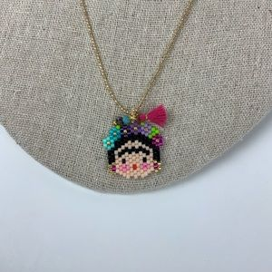 Hand Made Frida Khalo Women Necklace Miyuki beads.
